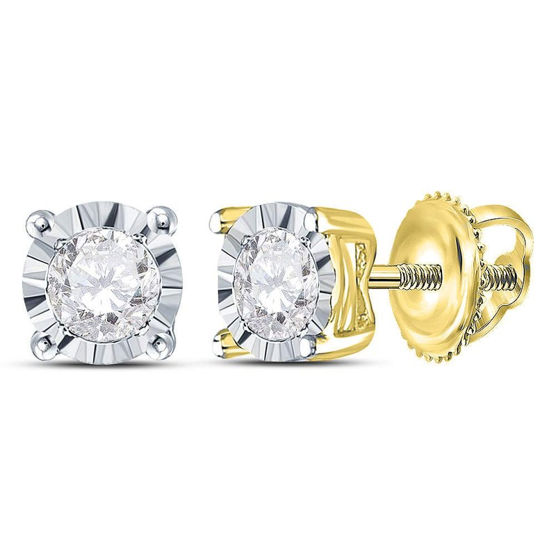 Gold-N-Diamonds 10kt Yellow Gold Womens Round Diamond Solitaire Stud Earrings 1/3 Cttw