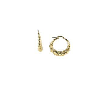 18KT GOLD TWISTED ROUND HOOPS