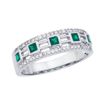 14k White Gold Princess Emerald Band