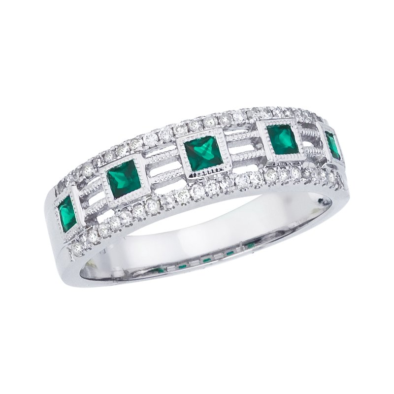 Color Merchants 14k White Gold Princess Emerald Band