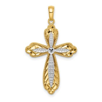 14K w/White Rhodium D/C Cross Pendant