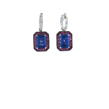18KT GOLD EARRINGS WITH DIAMONDS, PINK TOURMALINE AND TANZANITE