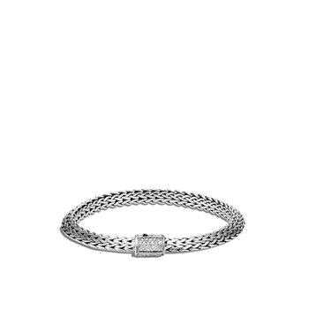 Tiga Classic Chain 6.5MM Bracelet in Silver with Diamonds