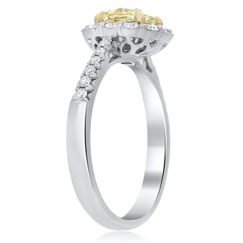Tapered Shank Two Tone Diamond Ring