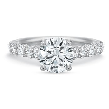 18K white gold semi mount for 1.00-3.00 ct center