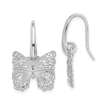 Sterling Silver Rhodium-plated Brushed & Polished D/C Butterfly Earrings