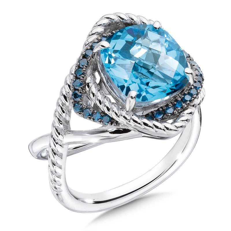 Colore Sg Sterling silver, blue topaz and blue diamond ring