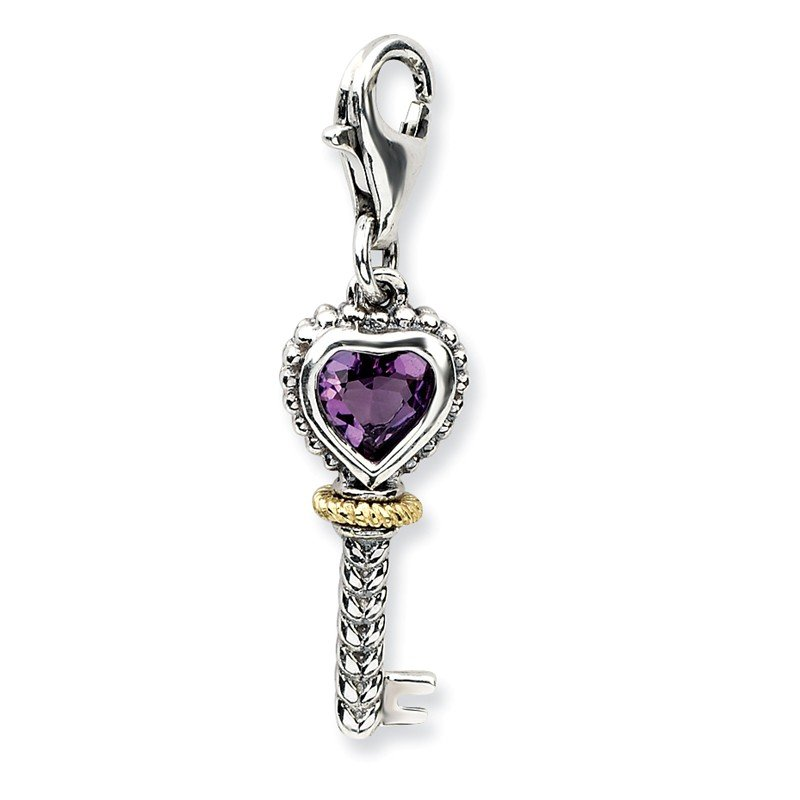 Shey Couture Sterling Silver w/14k Amethyst Antiqued Key w/Lobster Clasp Charm