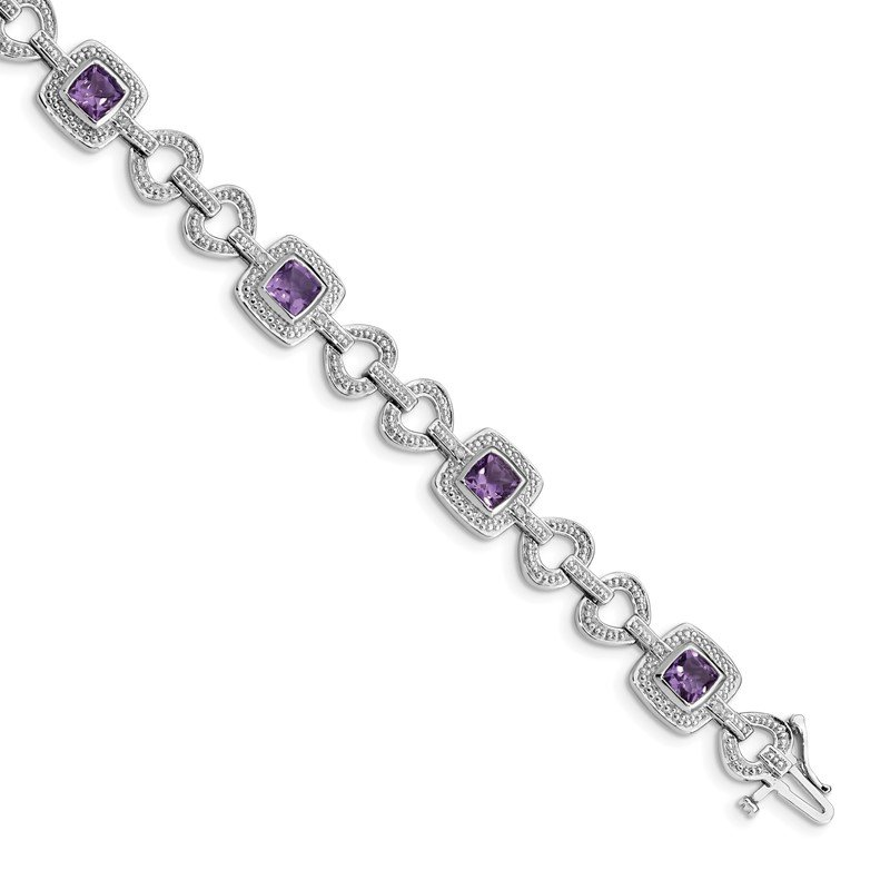 Quality Gold Sterling Silver Rhodium-plated Diamond & Amethyst Bracelet