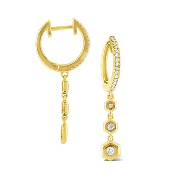 14k Gold and Diamond Charm Earring