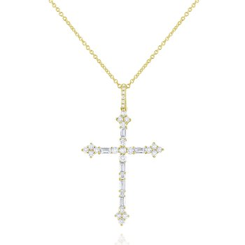 14K Two Tone Diamond Cross Pendant: