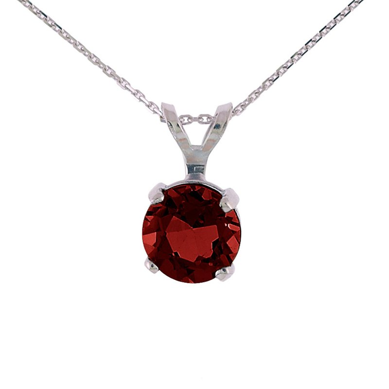 Color Merchants 14k White Gold 6mm Round Garnet Stud Pendant (.85 ct)