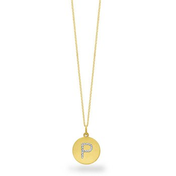 "Diamond Disc Initial ""P"" Necklace in 14k Yellow Gold with 15 Diamonds weighing .07ct tw."