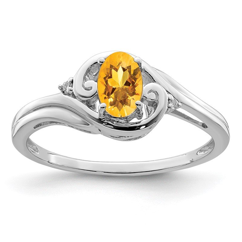 JC Sipe Essentials Sterling Silver Rhodium Plated Diamond & Citrine Ring