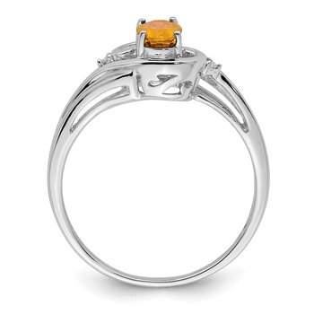 Sterling Silver Rhodium Plated Diamond & Citrine Ring