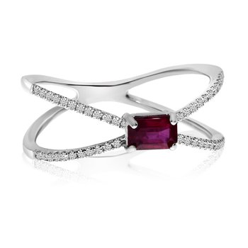 14k White Gold Sideway Set Ruby and Diamond Ring