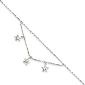 Sterling Silver Polished 2-Strand Starfish 9in Plus 1in Ext Anklet