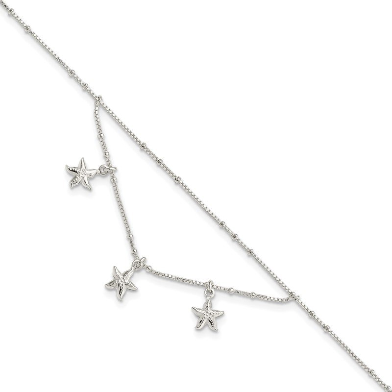 Quality Gold Sterling Silver Polished 2-Strand Starfish 9in Plus 1in Ext Anklet