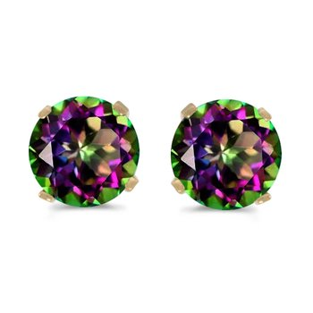 5mm Round Mystic Topaz Stud Earrings Set in 14k Yellow Gold