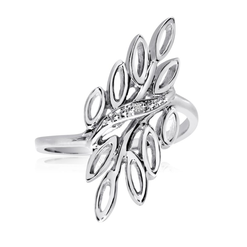 Color Merchants 14K White Gold Diamond Leaf Ring