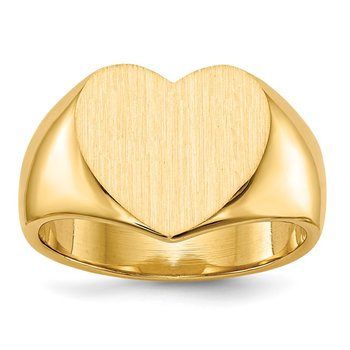 14k 11.5x12.5mm Closed Back Heart Signet Ring