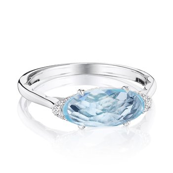 Solitaire Oval Gem Ring with Sky Blue Topaz