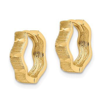 14K D/C and Textured Wave Hoop Earrings