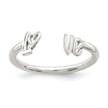 Sterling Silver Polished 'Love' Adjustable Ring