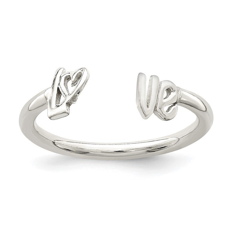 Quality Gold Sterling Silver Polished 'Love' Adjustable Ring