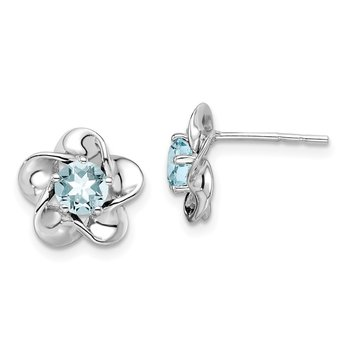 Sterling Silver Rhodium-plated Floral Aquamarine Post Earrings
