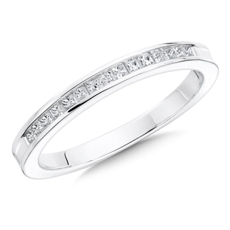 SDC Creations Channel set Diamond Wedding Band 14k White Gold (1/4ct. tw.)