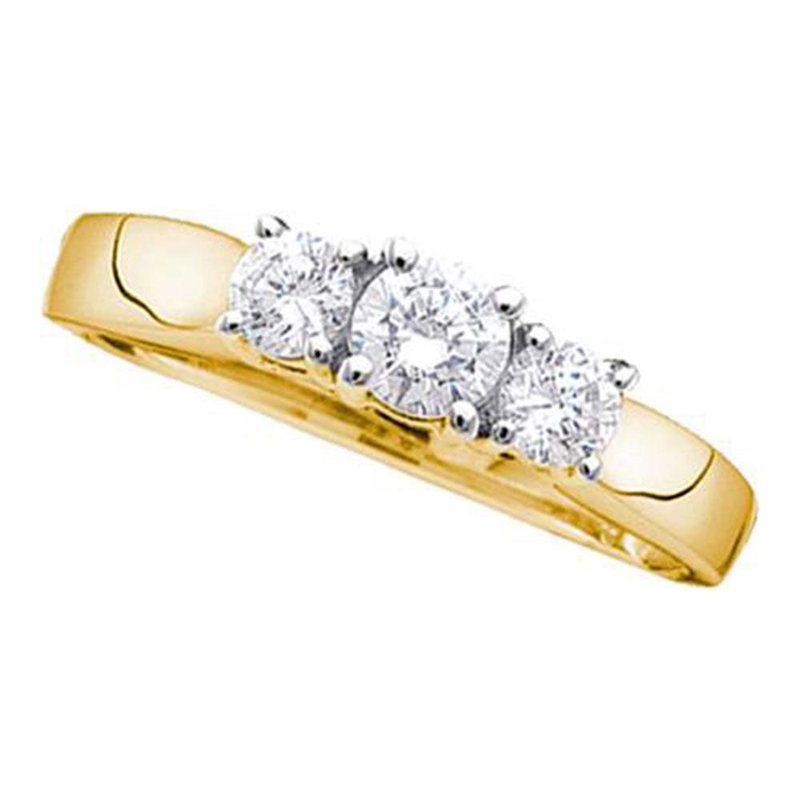 Kingdom Treasures 14kt Yellow Gold Womens Round Diamond 3-stone Bridal Wedding Engagement Ring 1.00 Cttw