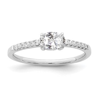 Sterling Silver Rhodium-plated Oval CZ Ring