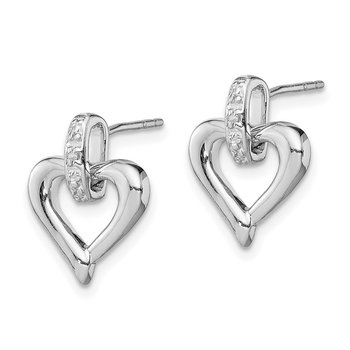 Sterling Silver Rhodium Heart w/Diam. Earrings