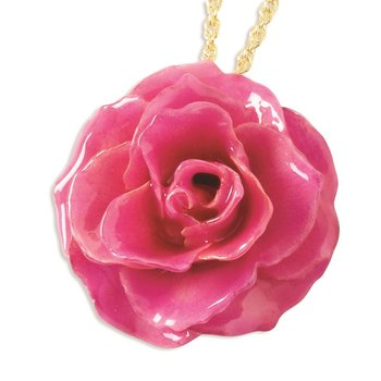 Lacquer Dipped Fuchsia Rose w/ Gold-tone Chain
