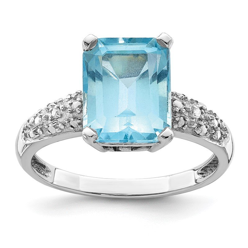 Quality Gold Sterling Silver & 14K Rhodium Plated Sky Blue Topaz and Diamond Ring