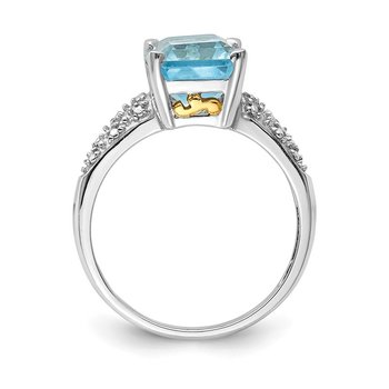 Sterling Silver & 14K Rhodium Plated Sky Blue Topaz and Diamond Ring