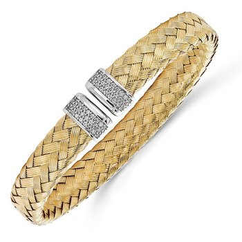 Leslie's Sterling Silver Gold-plated CZ Woven Flexible Cuff