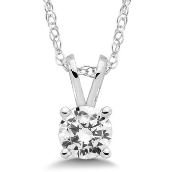 Four Prong Diamond Pendant in 14k White Gold (1/5 ct. tw.)