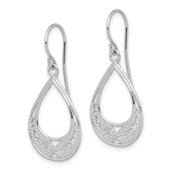 Sterling Silver Rhodium-plated Teardrop Filigree Dangle Earrings