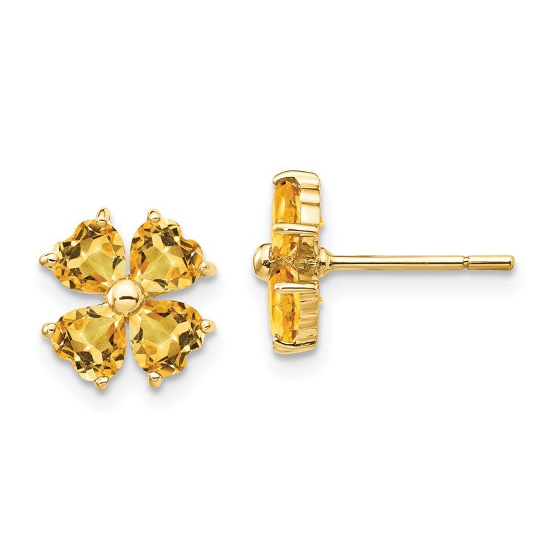 Quality Gold 14k Heart-shaped Citrine Flower Post Earrings