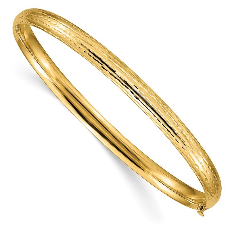 Quality Gold 14k 3/16 Diamond-cut Fancy Hinged Bangle Bracelet