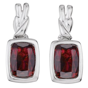 Sterling Silver Garnet Post Earrings