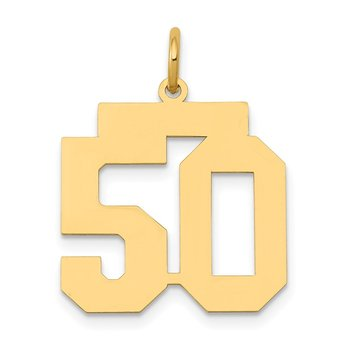 14k Medium Polished Number 50 Charm
