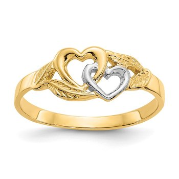 14K and White Rhodium Polished 2 Hearts Ring