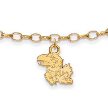 Gold-Plated Sterling Silver University of Kansas NCAA Bracelet