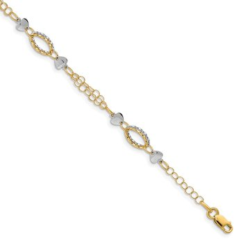 14K Two-tone Polished Hearts Bracelet