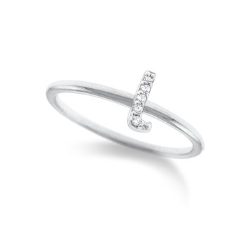 "Diamond Typewriter Initial ""L"" Ring"