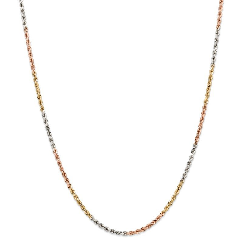 Quality Gold 14k Tri-Color 2.9mm D/C Rope Chain