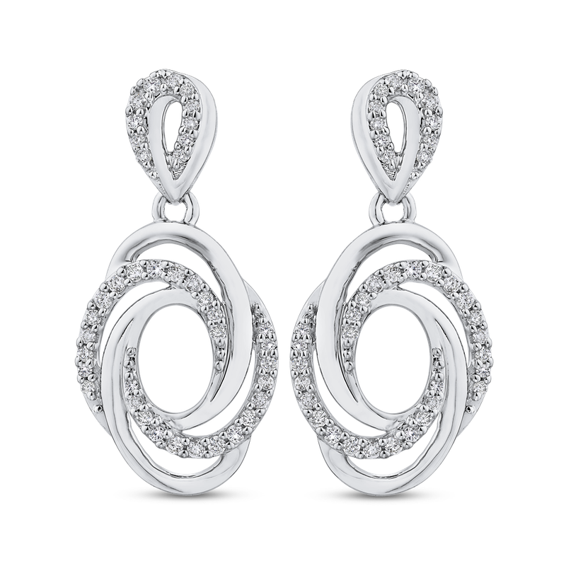Essentials 10K White Gold 1/3 ct Round Diamond Swirl Fashion Earrings
